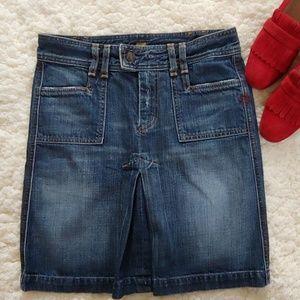 7FAMK Denim Inverte Pleat Pencil Skirt NWOT
